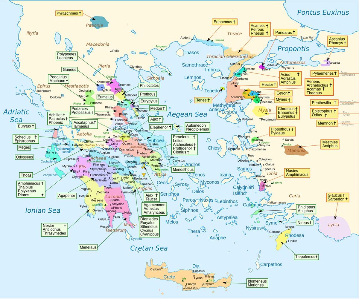 La mappa dei luoghi d'origine dei personaggi dell'Iliade