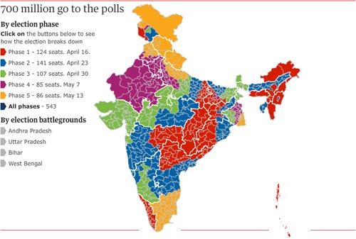 La mappa delle elezioni indiane - 714 milioni di indiani al voto