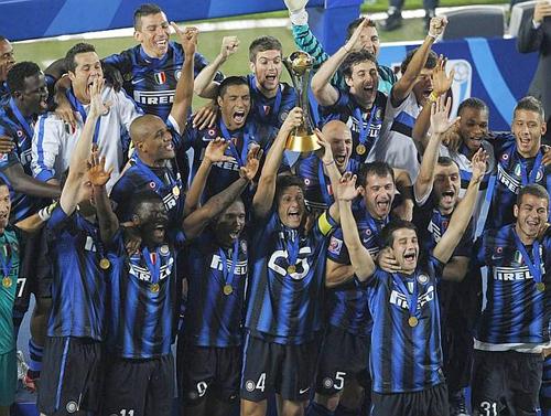 La squadra dell'Inter festeggia il successo nel FIFA Club World Cup