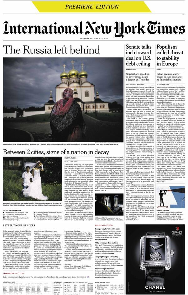 Prima pagina dell'International New York Times