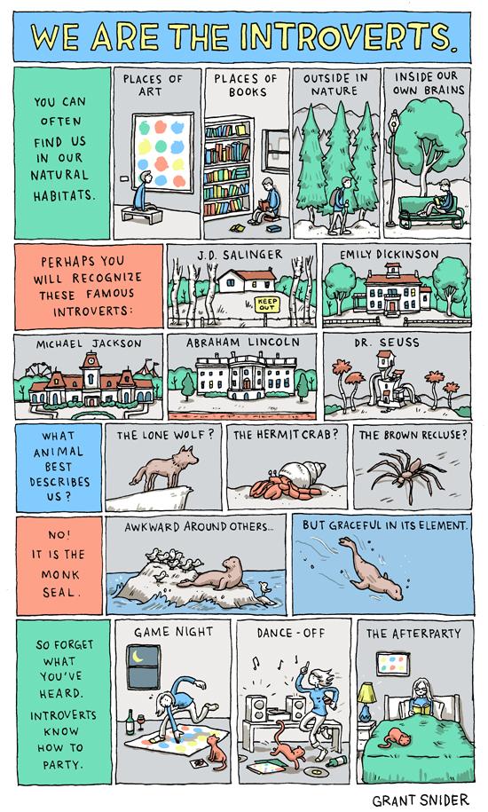 La vignetta sugli introversi di Grant Snider