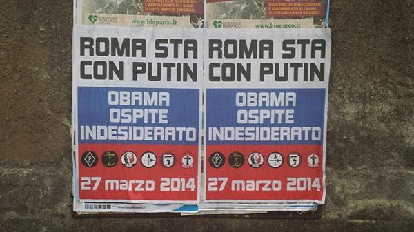 Manifesti dell'ultra destra romana contro il presidente Obama