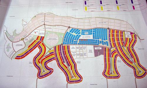 La pianta della futura città di Juba a forma di rinoceronte