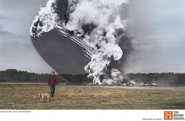 Il cane a passeggio sotto l'Hindenburg