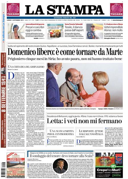 La prima pagina de La Stampa con la liberazione di Quirico