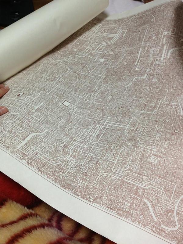 Il labirinto disegnato su un foglio A1