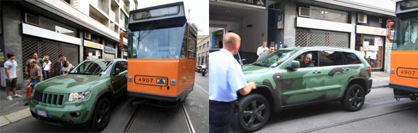 Il suv di Lapo Elkann blocca il tram