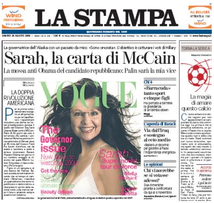 La prima pagina de La Stampa