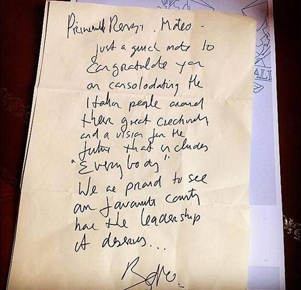 La lettera di Bono al premier Renzi