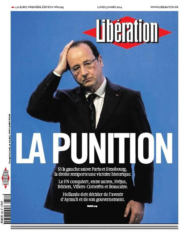 La copertina di Liberation su Hollande post amministrative 2014