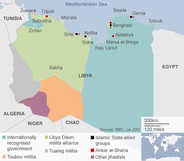 Le fazioni che si disputano la Libia in una mappa