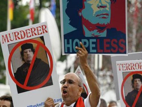 Manifestanti libici contro Gheddafi