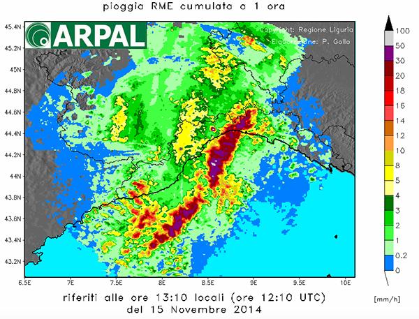 Dati meteo dell'alluvione del 2014 in Liguria