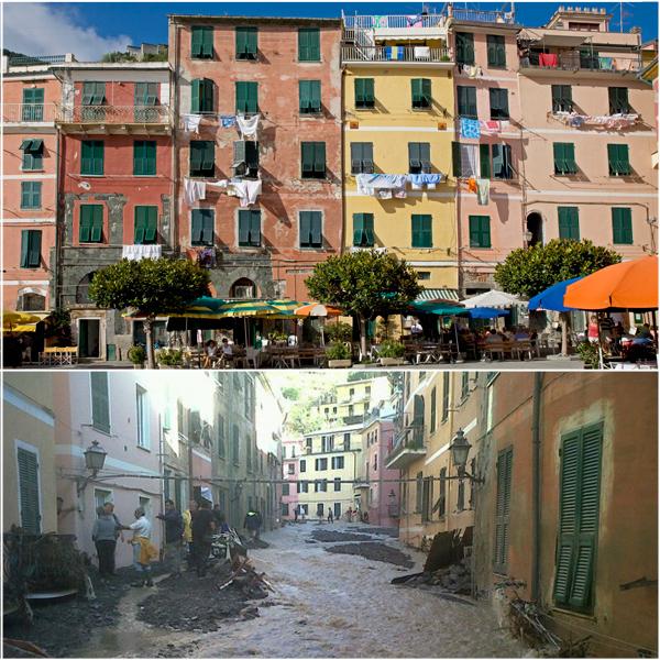 Vernazza prima e dopo l'alluvione
