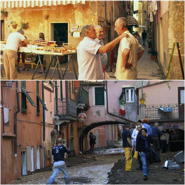 Monterosso prima e dopo l'alluvione