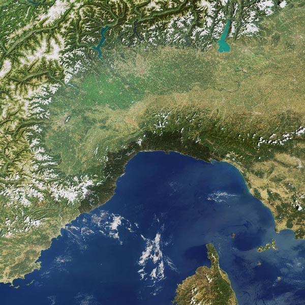 La Liguria vista dallo spazio
