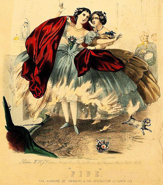 Litografia del 1860 sul pericolo di combustione della crinolina