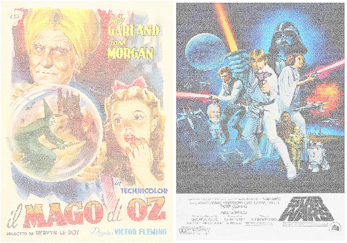 Le locandine de Il Mago di Oz e Guerre Stellari con i copioni
