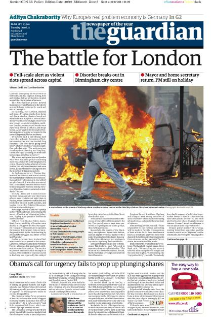 La prima pagina del Guardian
