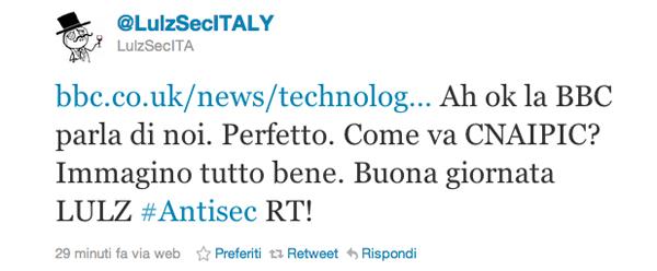 Screenshot di Twitter