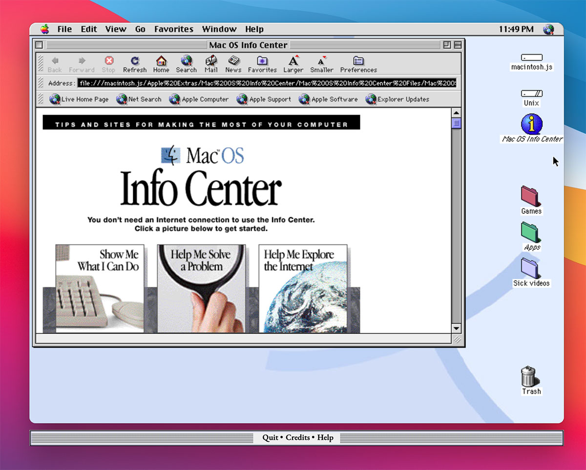 Screenshot dell'app Mac OS 8 di Felix Rieseberg