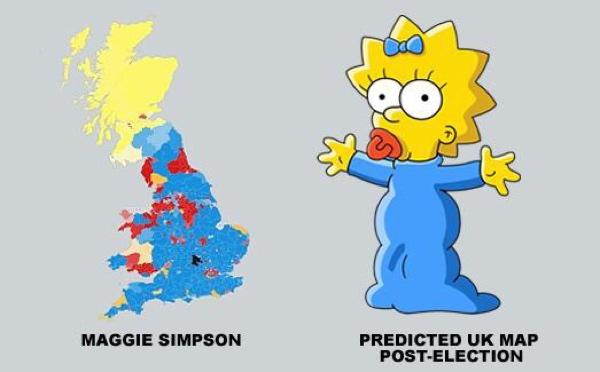 Somiglianze tra Maggie Simpson e la cartina elettorale del Regno Unito