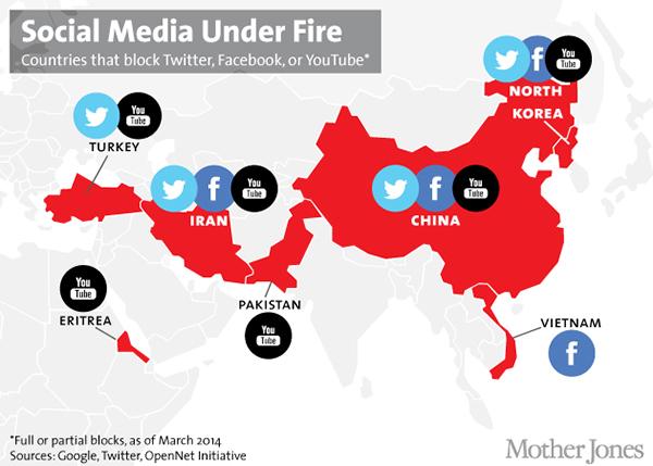 La mappa dei paesi che censurano i social media