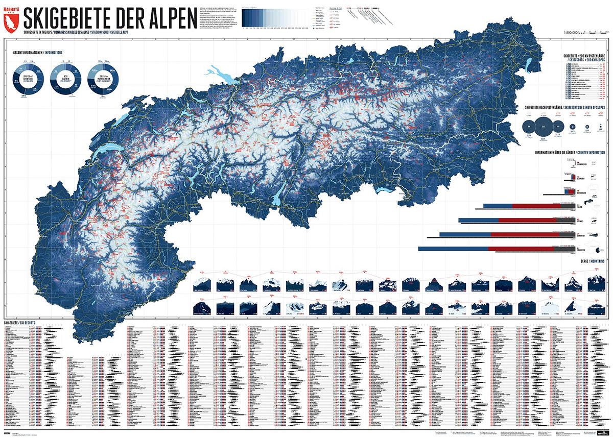 La mappa dei comprensori sciistici delle Alpi