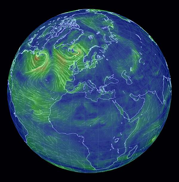 La mappa dei venti della Terra