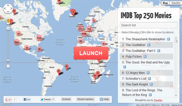 La mappa delle location dei migliori 250 film
