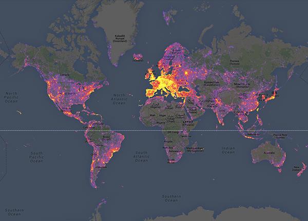 La mappa dei luoghi più fotografati al mondo