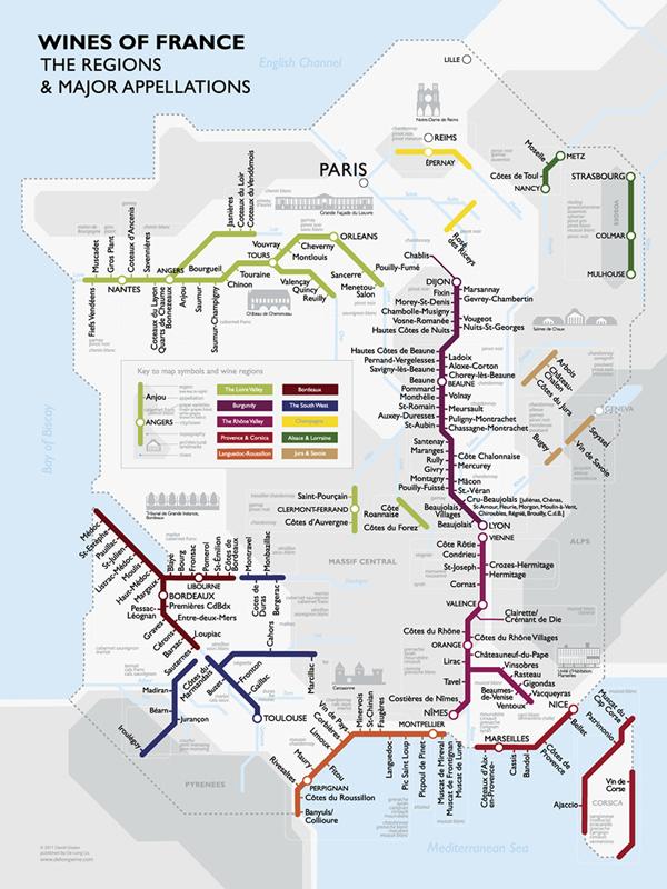 La mappa dei vini di Francia