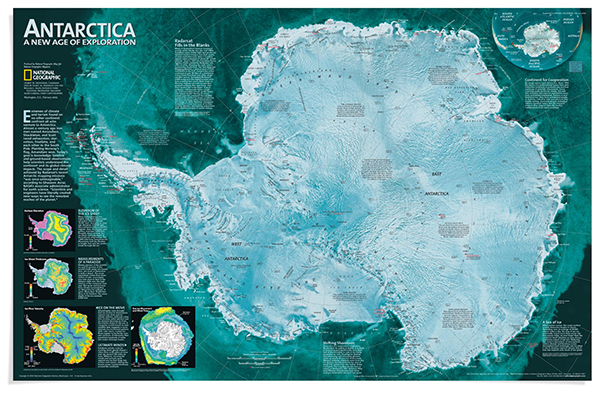 Mappa dell'Antartide National Geographic
