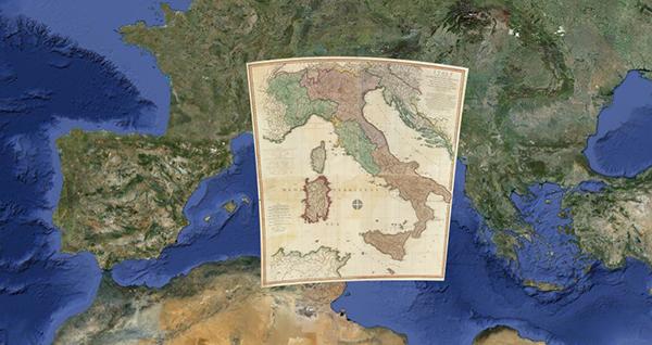 Una mappa storica dell'Italia