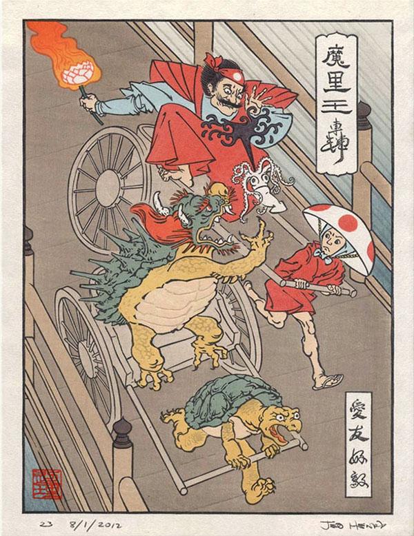 Super Mario in una stampa xilografica