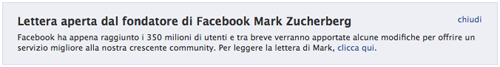 Lo screenshot di Facebook