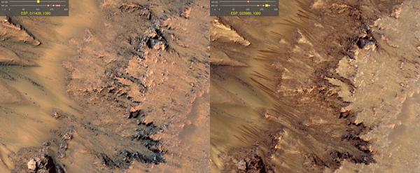 La foto che dimostra la presenta di acqua su Marte