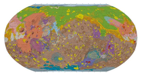 La mappa geologica di Marte