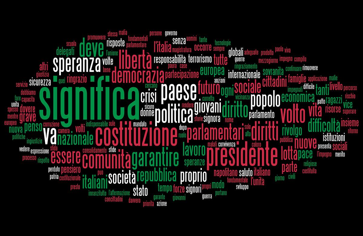 La word cloud del discorso di insediamento del presidente Mattarella