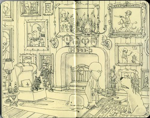 Il disegno di Mattias sulla pagina di un Moleskine
