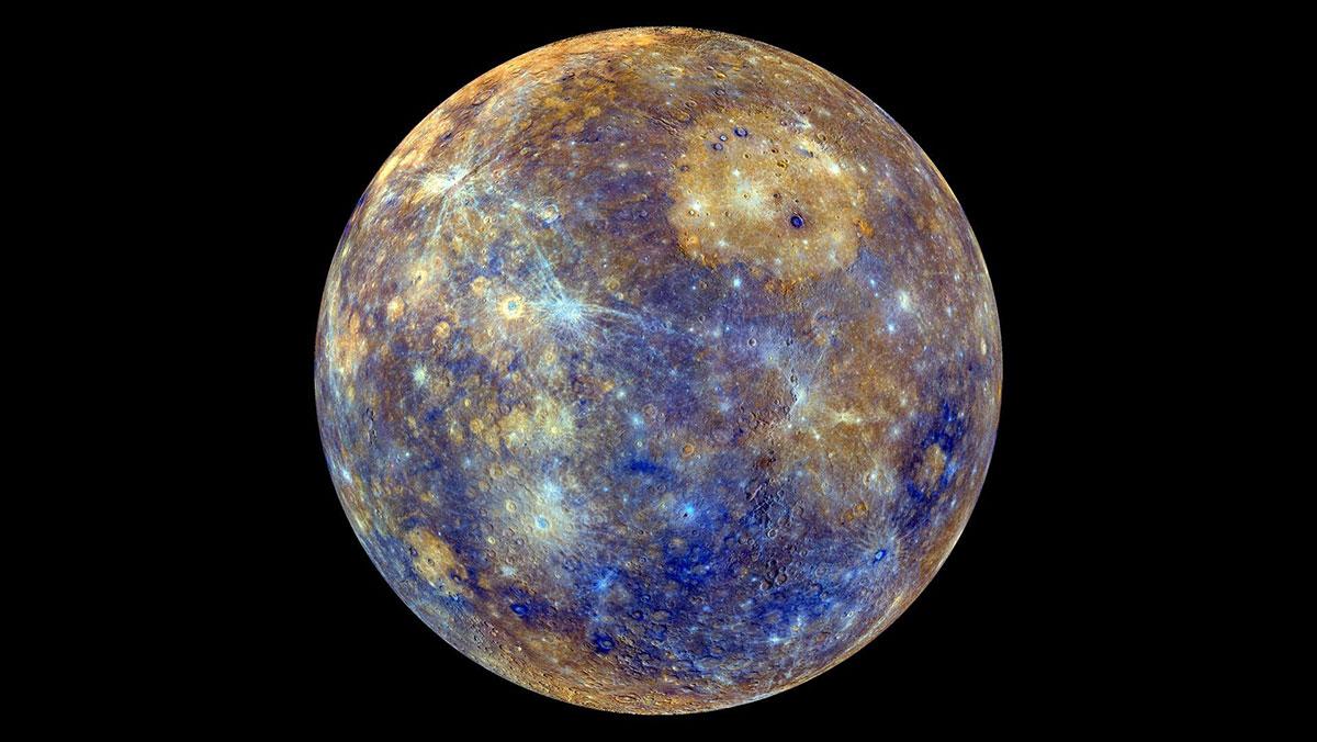 Mercurio in falsi colori fotografato dalla sonda MESSENGER