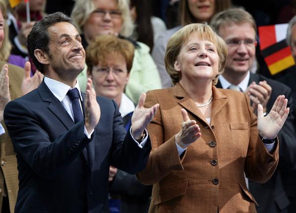 Il presidente Sarkozy e il cancelliere Merkel