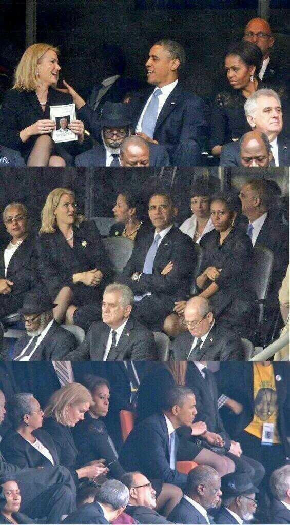 Michelle Obama gelosa durante i funerali di Mandela