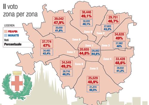 Mappa dei votanti a Milano tra Pisapia e Moratti