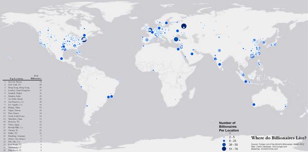 La mappa su dove vivono i miliardari
