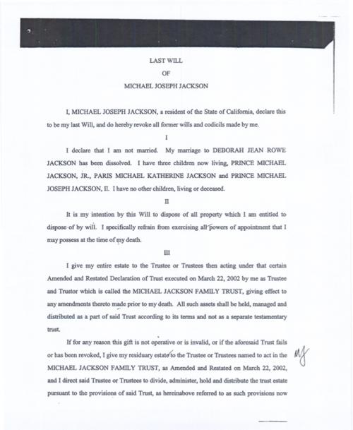 La prima pagina del testamento di Michael Jackson