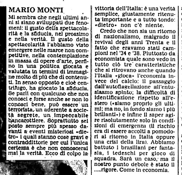 L'articolo di Mario Monti sulla vittoria ai mondiali del 1982