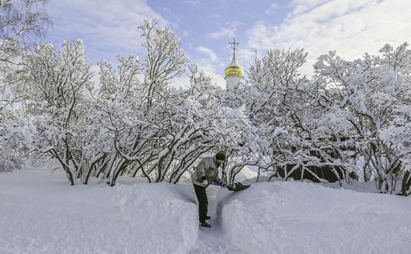 Nevicate eccezionali a Mosca
