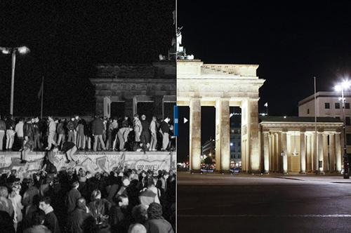 Il muro di Berlino e la Porta di Brandeburgo 1989 - 2009