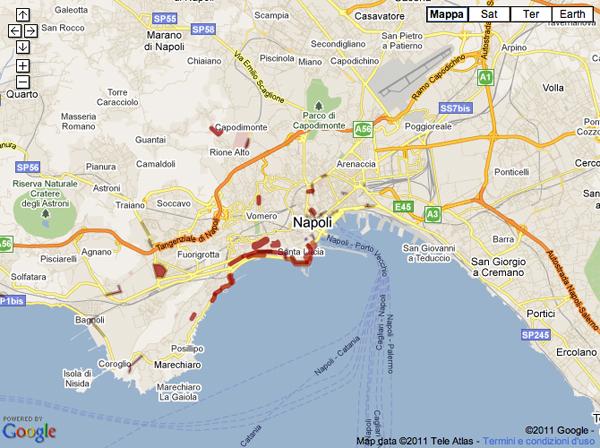 La mappa dei parcheggi abusivi a Napoli